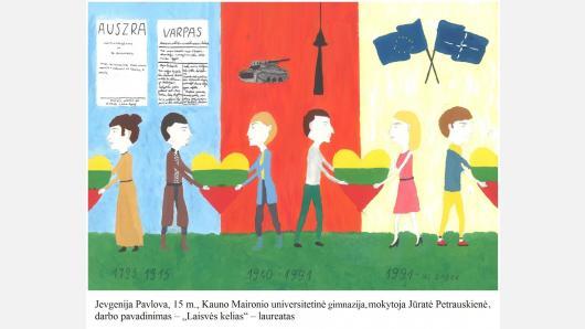 """Seime – nacionalinio mokinių piešinių konkurso """"Mes užaugome laisvi"""" darbų paroda"""