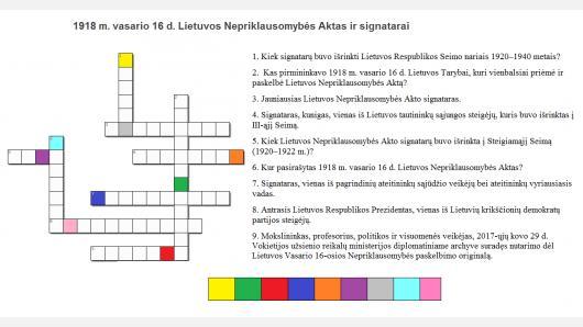 Išspręskite kryžiažodį apie Lietuvos valstybės atkūrimą ir laimėkite kuprinę!